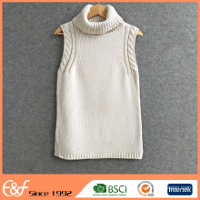 Custom Women's Cashmere Turtleneck Knit Vest Sweater