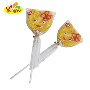 Halal candy cute cartoon shape flat gummy lolipop soft candy