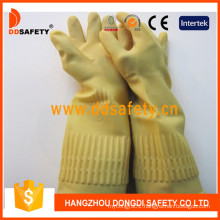 Yellow Latex Long Unlined Roll Cuff Household Working Gloves DHL441