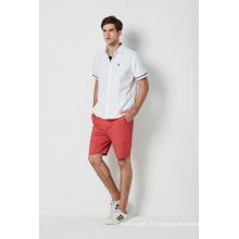 chemises de sport pour hommes avec bande tissée contrastante en popeline blanche