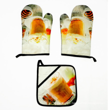 High Quality Promotional custom kitchen printed funny oven gloves