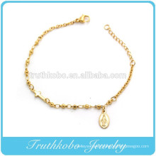 2016 Fashion Jewelry Vacuum Plating 18K Gold Stainless Steel Religious Baby Cross Rosary Jewelry Bracelet with Virgin Mary Medal