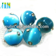 new product for 2018 diamond-encrusted ocean color round cat's eye bead