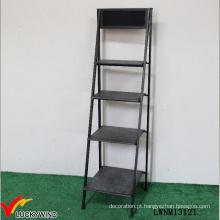 Vintage industrial armazenamento de armazenamento dobrável metal escada prateleira