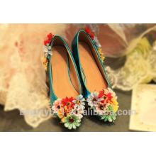 Bouche superficielle fleur ronde tête talon plat mariage chaussure de chaussure femme WS043