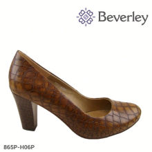 brown large size sheepskin leather shoes ladies chunky heels pump shoes