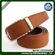 2016 Fashion Mens French Real Leather Full Grain Metal Pin Buckle Belt/cintos de couro cinto de couro para homens