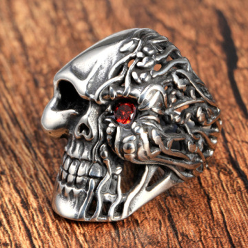 Halloween jewelry ruby eyes Rock skull ring