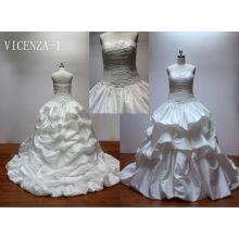 Ruffle lace up back Taffeta skirt western bridesmaid dresses
