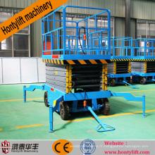 12 m fournisseur de porcelaine CE pas cher mobile hydraulique pompe à pied ciseaux table élévatrice plate-forme élévatrice à ciseaux