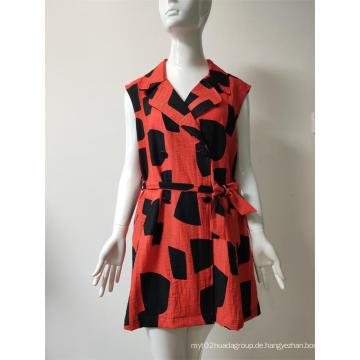 Bedrucktes Kleid aus Viskose / Nylon / Leinen mit Knöpfen