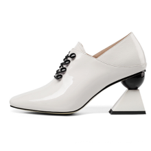 Patent Genuine Leather Shoes Women Strange Heel Finner Square Toe Shoes Hotsale Latest Style Fancy Heel Lady