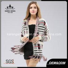 Frauen Hairy Long Sleeve Fringed Plaid Muster gestrickte Pullover Mantel