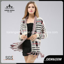 Women Hairy Long Sleeve Fringed Plaid Pattern Knitted Sweater Coat
