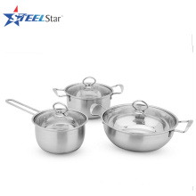 6 pcs Stainless Steel cookware set with glass lid
