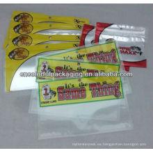 Cebo de pesca Bolsa de embalaje con ventana transparente / bolsa de embalaje de plástico / embalaje de cebo de pesca suave