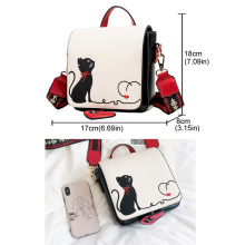 Women Bag Cute Cat Embroidery Shoulder Bag Leather