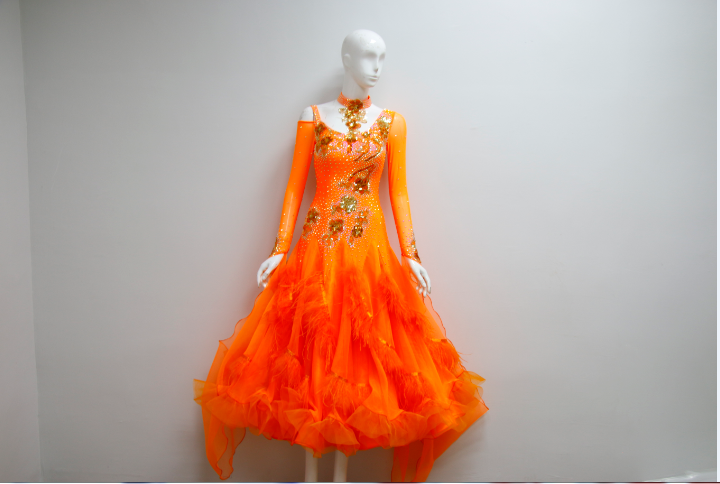 Orange Ballroom Dance Costumes For Womens