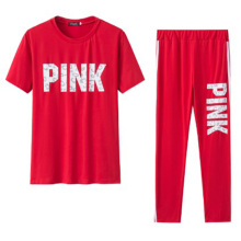 Plus size China whole sale price women casual outfits Pinks summer leisure clothes sets for fashion girl