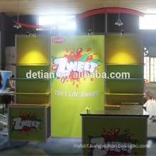 Exhibition fabric display stand with led lights and cabinet 10x10 feet