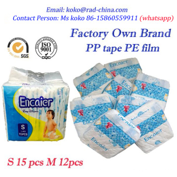 Fábrica Encaier Hot Selling em Gana Bebê barato de alta absorção de qualidade descartáveis Nappines / Baby Fraldas