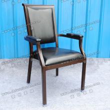 Черный кожаный обеденный стул (МК-Е65-07)