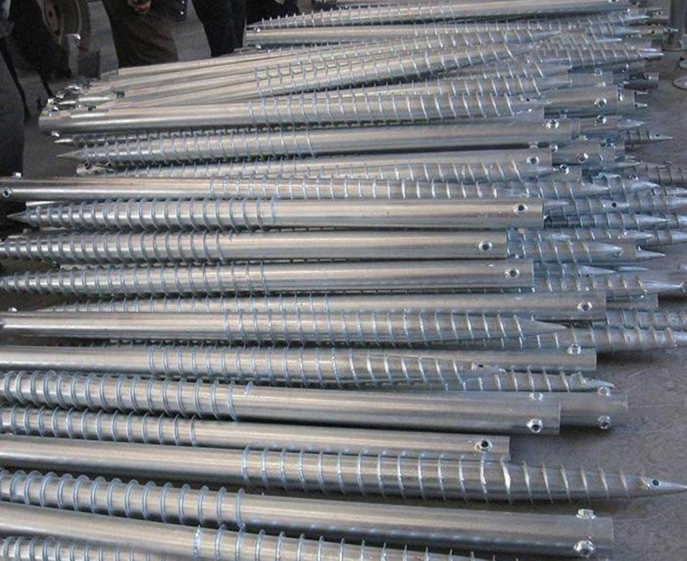 ground screw pile of packing