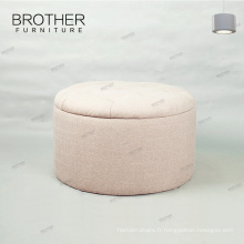 Tissu à la mode de pliage tufté rond de stockage ottoman pour la chambre à coucher
