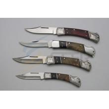 Couteau à poignée en bois avec motif laser (SE-395)