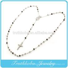 2015 Mode Beckham Mutter Maria und religiöse Jesus Kreuz Charme mit schwarzen 5mm Perlen Rosenkranz Edelstahl Anhänger Halskette