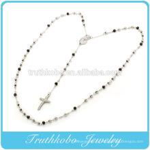 2015 мода Бекхэм мать Мария и религиозные Иисус крест очарование с черными 5мм бусины четки ожерелье из нержавеющей стали