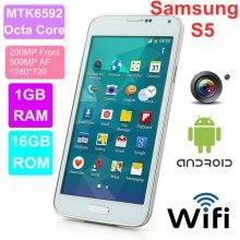 "Samsung S5 i9600 Quad core telefone 5,1 ""controle de olho do gesto de ar MTK6589 MTK6582 MTK659 MTK6572 Android 4.4 DHL frete grátis"