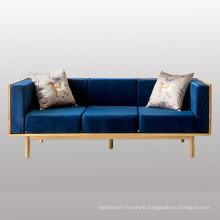 3 Seats Fabric Sofa with Wood Legs