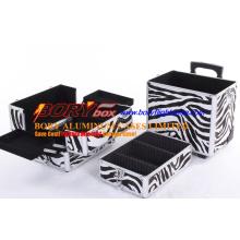 Große 3 Tiers Zebra Kosmetik Trolley Box