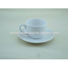 Daily used porcelain coffee cup and saucer