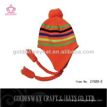 Orange tricoté chapeaux earflaps dobby 2013 mode tricot chapeaux custom design fabricant en gros