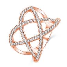 Mais recente prata banhado a ouro cz diamante anel costume (cRI01025)