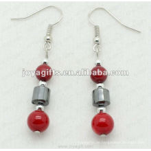 Mode Hämatit Rote Koralle Perlen Ohrring