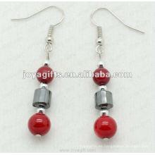 Moda hematita coral rojo perlas pendiente