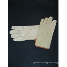 Pig Grain Leather Palm Split Leather Back Driver Glove-9514