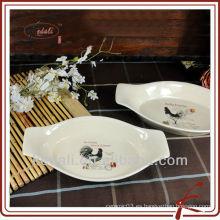 Placa de cocción de cerámica de forma ovalada