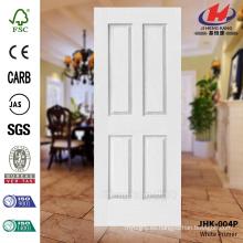 JHK-004P Mordern Diseño Textura de grano de madera Decorativo blanco Primer puerta piel Mejor hacer
