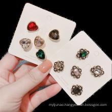 Korean Crystal Heart Geometric Set Designer Brooch Pin for Women Girl Coat Sweater Accessories Vintage Badge Fashion Jewelry