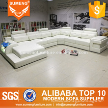 simple warm led full white leather used sectional sofas set multi home furniture