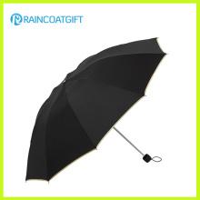 Paraguas promocional negro de 3 pliegues