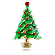 Merry Christmas Enamel Christmas tree shape Brooches Pin made of zinc alloy crystal rhinestone inlaid gold plated fashion design