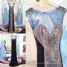 Vestido De Festa Tulle Robes de soirée sirène Beaded Sequin Crystal Luxe faite à la main Sexy Voir à travers des robes formelles ML163