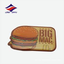 Impresión hamburguesa epoxi solapa insignia cierre de mariposa