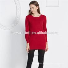 mode femmes style tricoté pull en cachemire long vêtement avec paquet de hanche