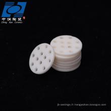 Puce en céramique d'alumine blanche avec trous